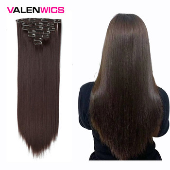 Valenwigs Synthetic Hair Extensions Clip In 22 100g Full Head On Extension Straight Fiber HairPieces