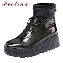 Купить с кэшбэком Meotina Winter Ankle Boots Women Patent Leather Platform Wedge High Heel Short Boots Zipper Round Toe Shoes Lady Autumn Size 39
