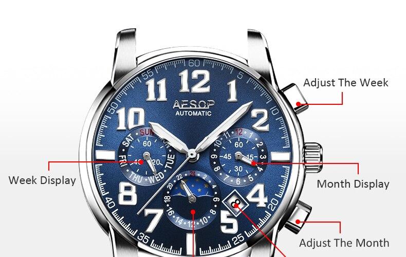 H54813f0159f24b47a62c233d9f5109758 AESOP Luminous Automatic Mechanical Watch Men Luxury Brand Business Waterproof Stainless Steel Male Clock Relogio Masculino 2019