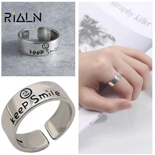 RIALN Vintage antique silver color smiley women open ring punk hip hop adjustable ring fashion jewelry best gift