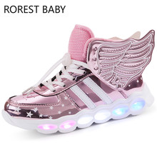 Luminous Sneakers Boy Girl Cartoon LED Light Up Shoes Glowing with Light Kids Shoes Children Led Sneakers Brand Kids Boots