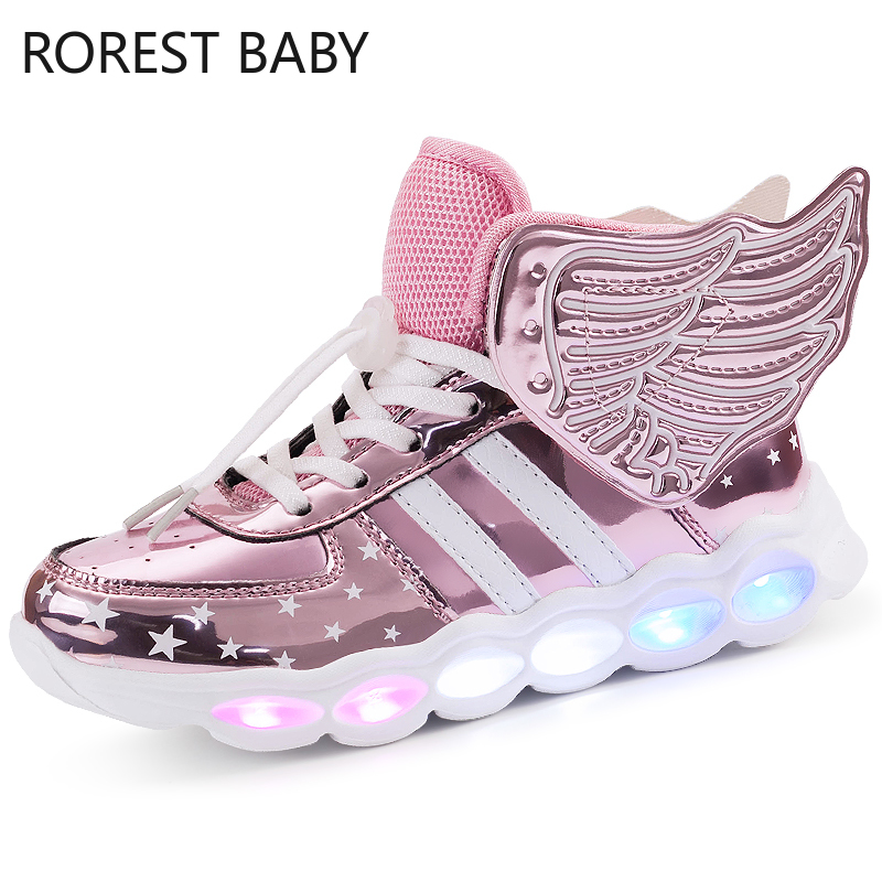 Tênis luminosos dos desenhos animados da menina do menino led iluminar acima sapatos brilhantes com luz crianças sapatos led tênis marca crianças botas