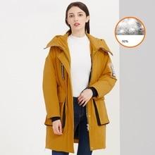 High quality winter 90% white duck down jacket down jacket 2019New women's coating warm hooded women's long down jacket XL недорого