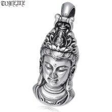 100% 925 Silver Kuanyin Buddha Pendant Vintage Sterling Avalokitesvara Bodhisattva Pendant Buddhist Guanyin Good Luck Pendant
