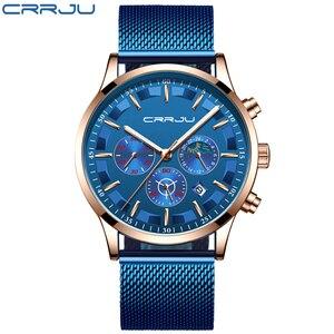 Image 2 - Mannen Horloges Relogio Masculino Crrju Top Luxe Merk Zakelijke Staal Quartz Horloge Casual Waterdichte Mannelijke Horloge Chronograaf