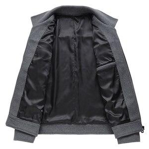 Image 5 - 2019 otoño nueva chaqueta de lana para hombres moda de negocios Color sólido dos bolsillos abrigo de herramientas ropa de marca masculina gris caqui negro