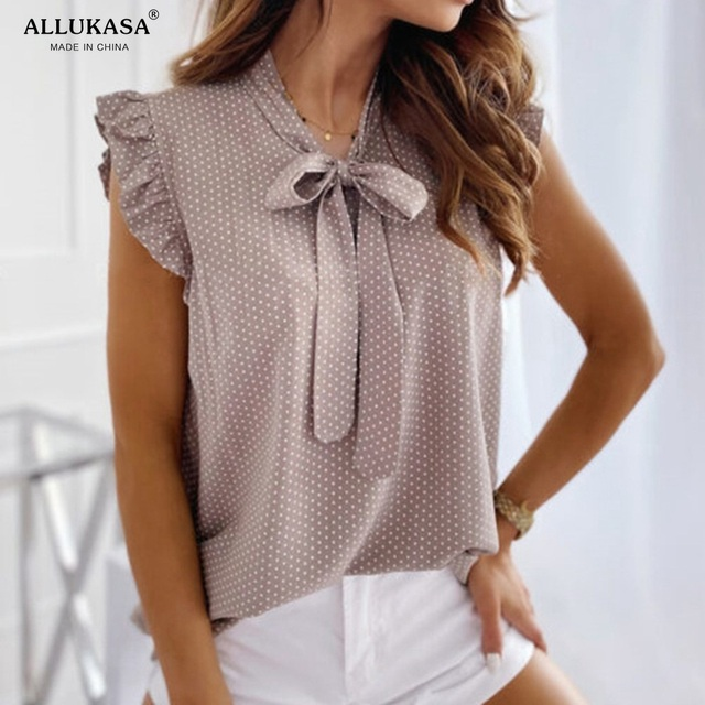 Allukasaa Women Blouses Short Sleeves Shirt Female Tops Ruffle Pullover Vintage Bow Up Polka Dot Summer Lace Butterfly 5