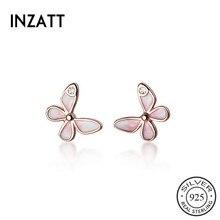 Stud-Earring Zircon 925-Sterling-Silver INZATT Butterfly Minimalist Fine-Jewelry-Accessories