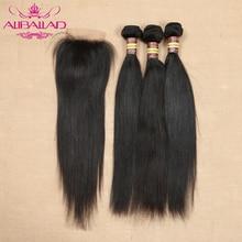 Straight Hair Bundles With Closure Peruvian Hair 3/4 Bundles With Closure Remy Human Hair Lace Closure With Bundles