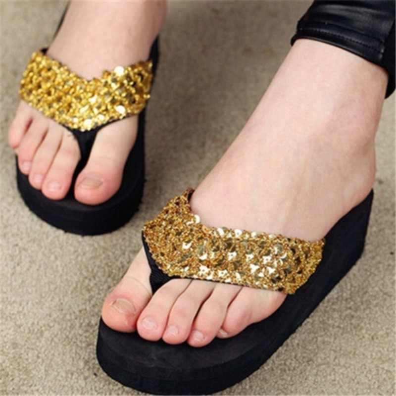 2020 חדש נשים צונח שקופיות מוצקות נשים סנדלי נשים עובי נצנצים נעלי Zapatillas נעלי כפכפים חוף נעליים