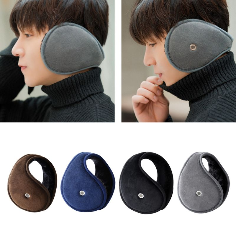 Mens Womens Winter Accessory Thicken Plush Lining Classic Earmuffs With Earholes For Answer Phone Outdoor Adjustable Ear Warmer