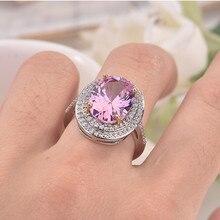 925 スターリングシルバー色ピンクダイヤモンドリングanillosエレガントな女性のためのbizuteriaピンクトパーズ 925 リング宝石用原石
