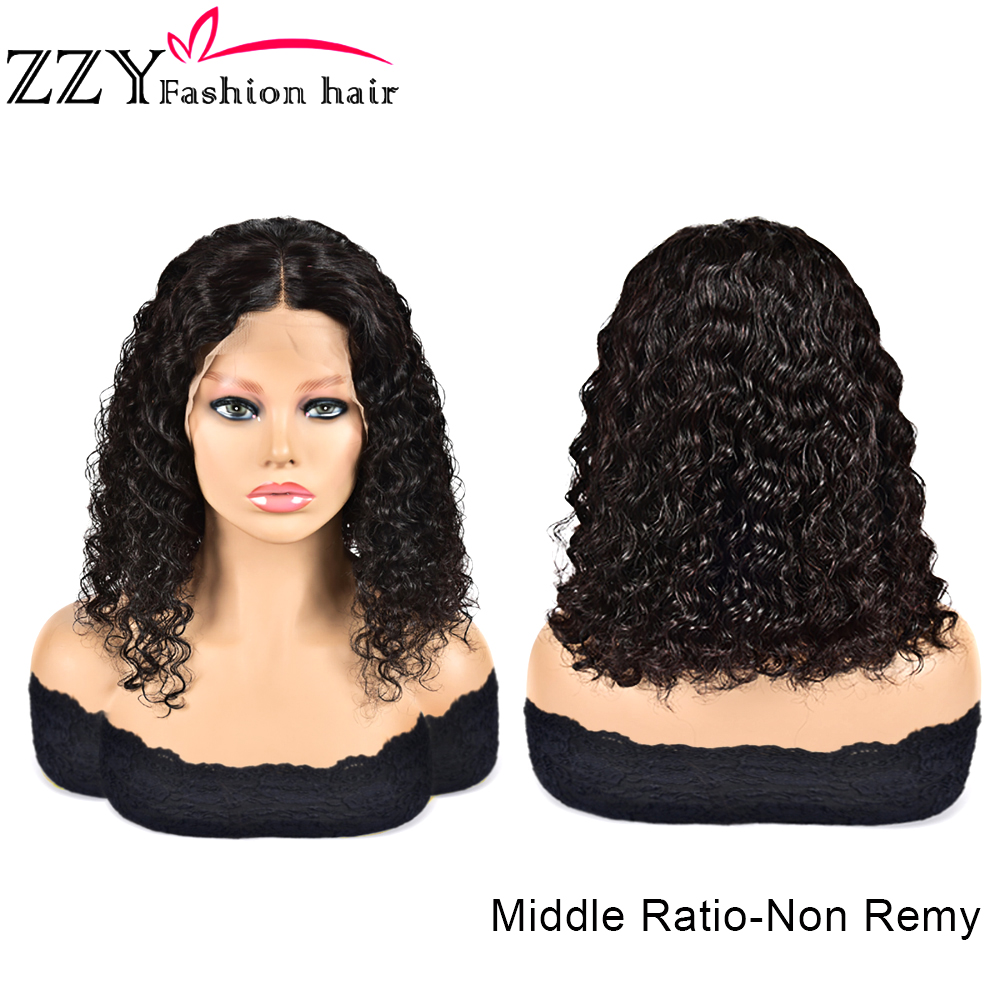 ZZY Fashion 13x4 Short Lace Front Deep Wave Bob Wig Human Hair Wigs 150 Density Malaysian Lace Frontal Wigs Pre Plucked Non-remy
