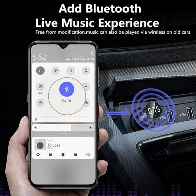 Baseus FM Transmitter Car Bluetooth 5.0 FM Radio Modulator Car Kit 3.1A USB Car Charger Handsfree Wireless Aux Audio MP3 Player 1