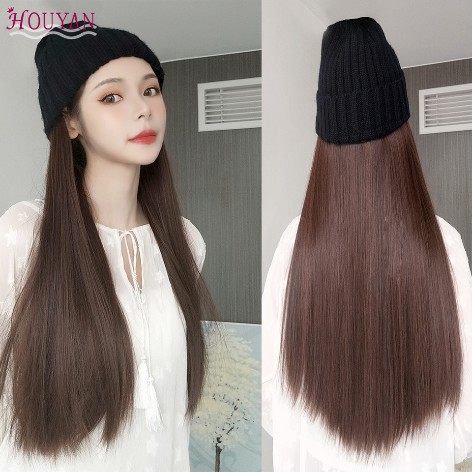 HOUYAN  Knit cap with synthetic wig natural black brown long straight /curly hair  For fashion girl party