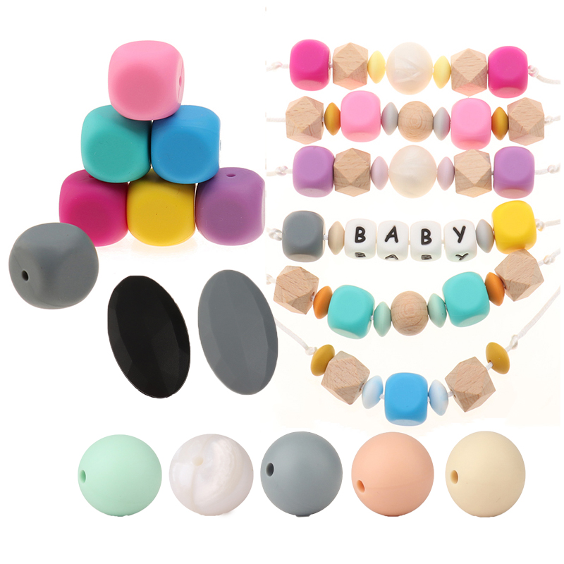 1PC Silicone Beads Cube 16MM Silicone Round Beads19MM DIY Teething Beads Square Flat Oval Beads Baby Silicone Teethers Bpa Free