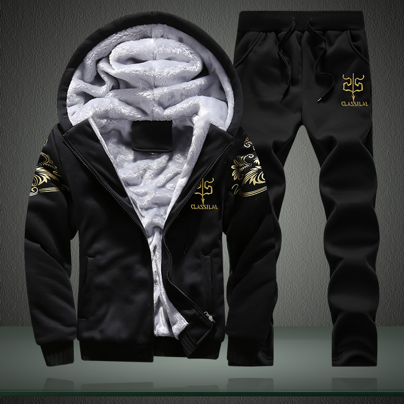 Men Casual Wear Set 2018 New Style Sports Autumn And Winter Trend Clothes Plus Velvet Hoodie Winter Coat