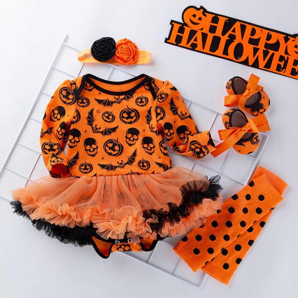 CHAMSGEN ילדי בד שמלת יילוד תינוקת פעוט תינוק בנות ליל כל הקדושים דלעת Romper שמלת גומייה לשיער נעלי גרב סט #