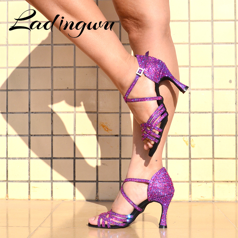 Ladingwu Women Salsa Party Ballroom Shoes Latin Dance Shoes Big Small Rhinestone Shining Purple Black Flash Cuban Heel 6-10cm