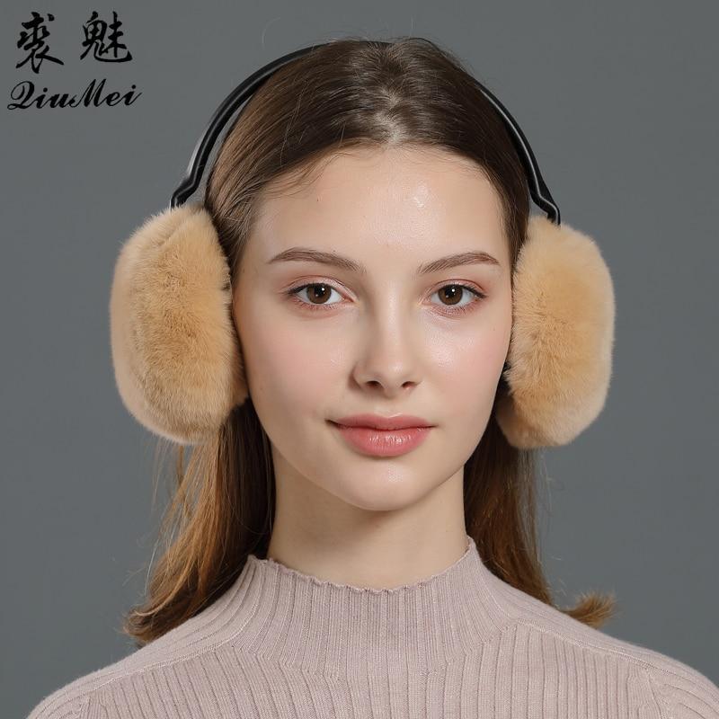 Women's Real Fur Earmuffs Rex Rabbit Fur Female Earmuffs Soft Natural Fur Wind Proof Adjusted Frame Winter Ear Protector Cover
