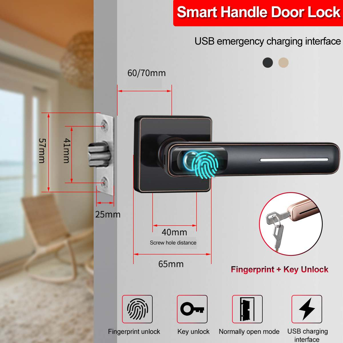 Security Electronic FPC Smart Fingerprint Door Handle With Key Set USB Charging Zinc Alloy Lock Handle For Home Office Bedroom