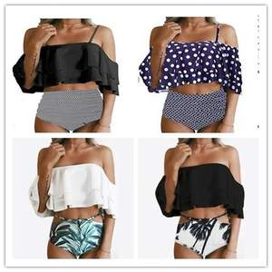 New Style Europe And America Cute Double Layer Flounced Swimwear Printed Shorts off-Shoulder Bikini Bathing Suit