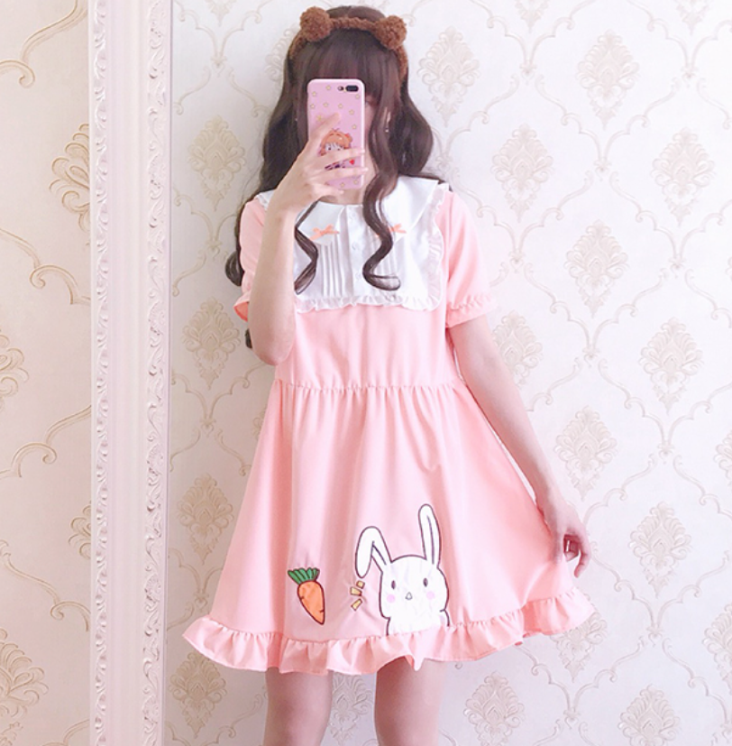 Japanese pink sweet lolita dress cute carrot rabbit patch victorian dress gothic kawaii lace bowknot girl lolita op loli cosplay