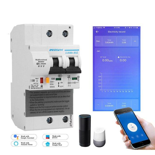 Ikinci nesil 2P WiFi akıllı devre kesici ile enerji izleme ve metre fonksiyonu Amazon Alexa ve Google ev
