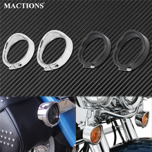 Motorcycle Bezel Visor Style Turn Signal Light Lamp Trim Ring With Rubber Rings For Harley Touring Softail FLHR Road King FLST