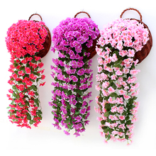 Flower Orchid Hanging-Basket Simulation Party-Decoration Wedding-Wall Violet Valentine's-Day