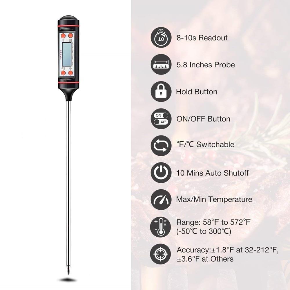Цифровой термометр для мяса для приготовления пищи, кухни, барбекю, зонд, вода, молоко, масло, жидкая духовка, цифровой датчик температуры, из...
