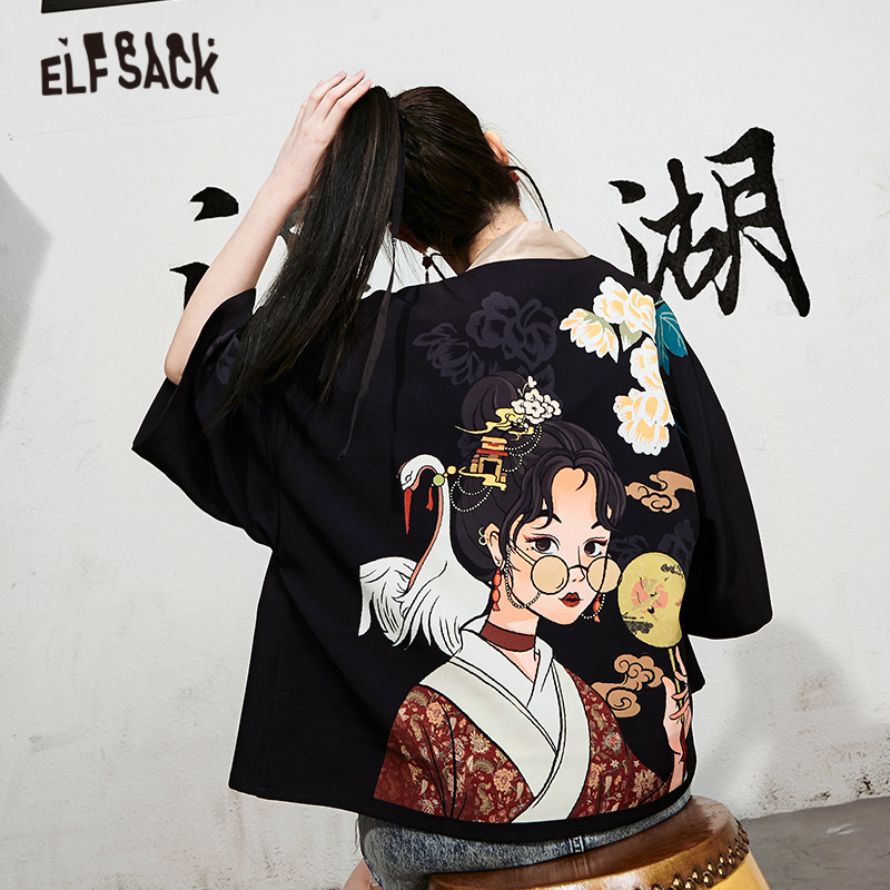ELFSACK Black Original Graphic Print Casual Women Satin Kinomo 2020 Summer ELF Chinese Chic Button Korean Ladies Daily Coat