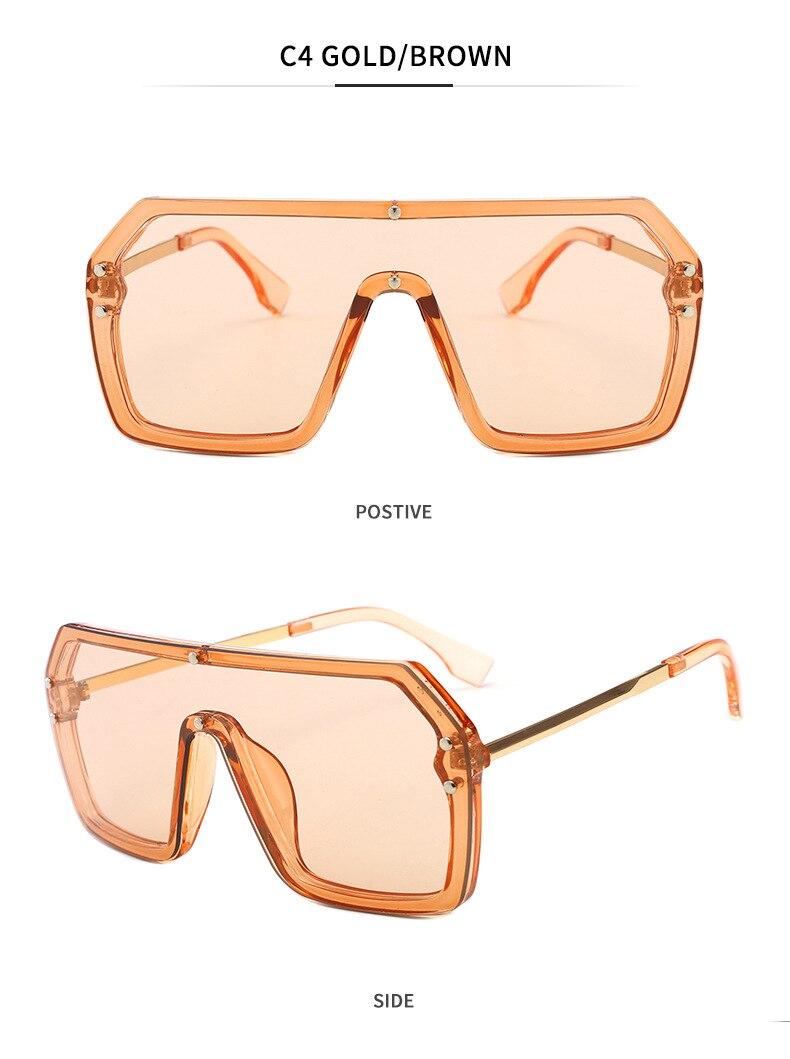 Luxury Brand Women's Sunglasses 2021 Trend One-Piece Lens Rimless Sunglass Female Designer Retro Sun Glasses For Women Gradient (10)