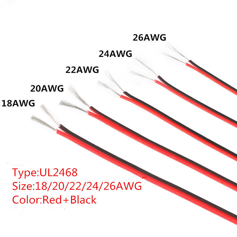 Купить 10 м ul2468 18/20/22/24/26 awg красный и черный электрический