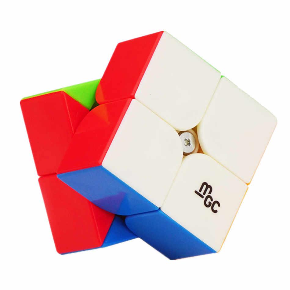 Магнитный волшебный кубик YJ MGC, черный или без наклейки, кубик скорости 2x2x2 для тренировок мозга, игрушки для детей