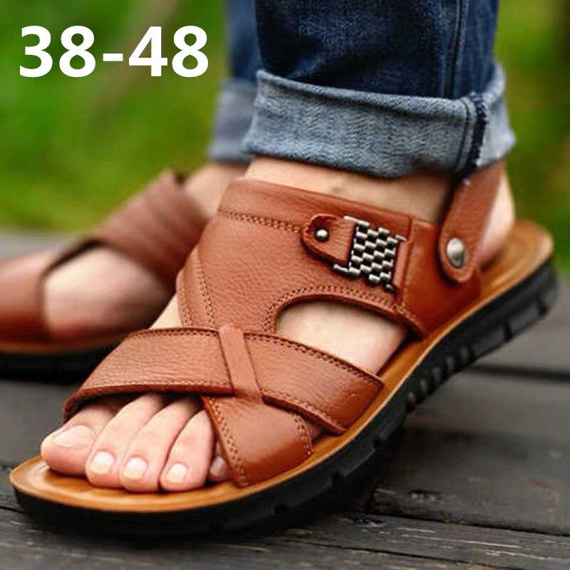 Men's Summer Sandals Genuine Leather Comfortable Slip-on Casual Sandals Fashion Men Slippers Zapatillas Hombre Size 38-48