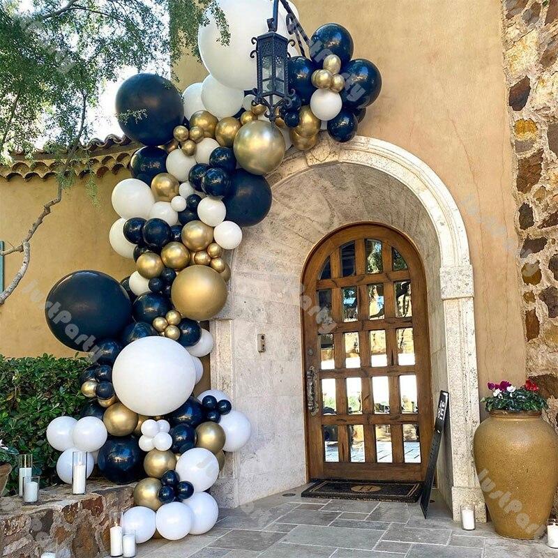 Navy Blue Balloons Garland Arch DIY Wedding Decoration Chrome Gold Confetti White Sage Green Party Balloon Gender Reveal Decor