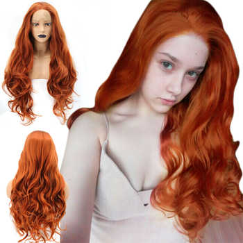 Anogol High Temperature Fiber Free Part Orange Natural Long Body Wave Copper Red Synthetic Lace Front Wig For White Women - DISCOUNT ITEM  59% OFF All Category