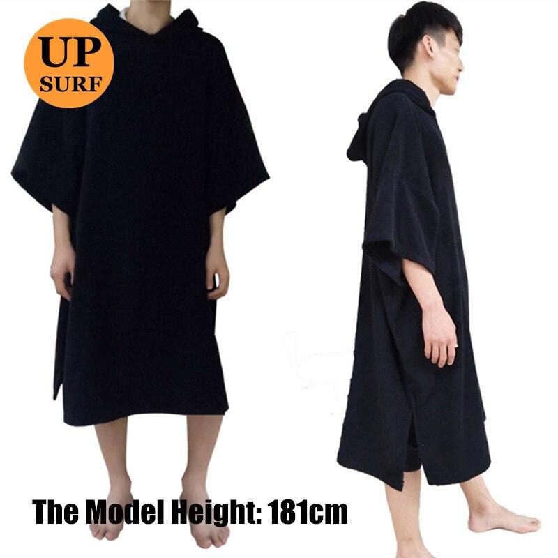 Пончо для серфинга, сменный халат, пончо с капюшоном для плавания, пляжный спорт, махровая ткань 320 г/м2, 100% хлопок, оверсайз, для взрослых