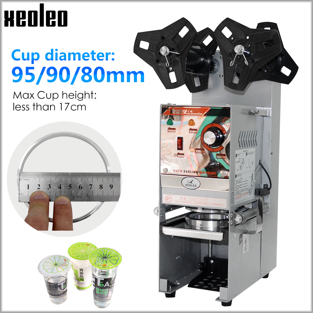 Xeoleo Automatic Cup Sealing Machine Bubble Tea Machine Cup Sealer For Coffee/Milk Tea/Soy Milk Cup 9.5/9cm Boba Tea Machine