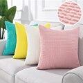 Мягкие накидки на подушки, розовое вельветовое подушка чехол s для диван-кровать домашний декоративный Кукуруза полоса Подушка Чехол разме...