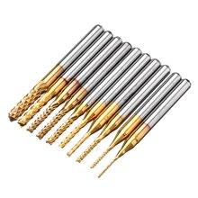 10pcs 1.0-3.0mm PCB Engraving Bit Drill Bit Set Carbide End Mill 1/8