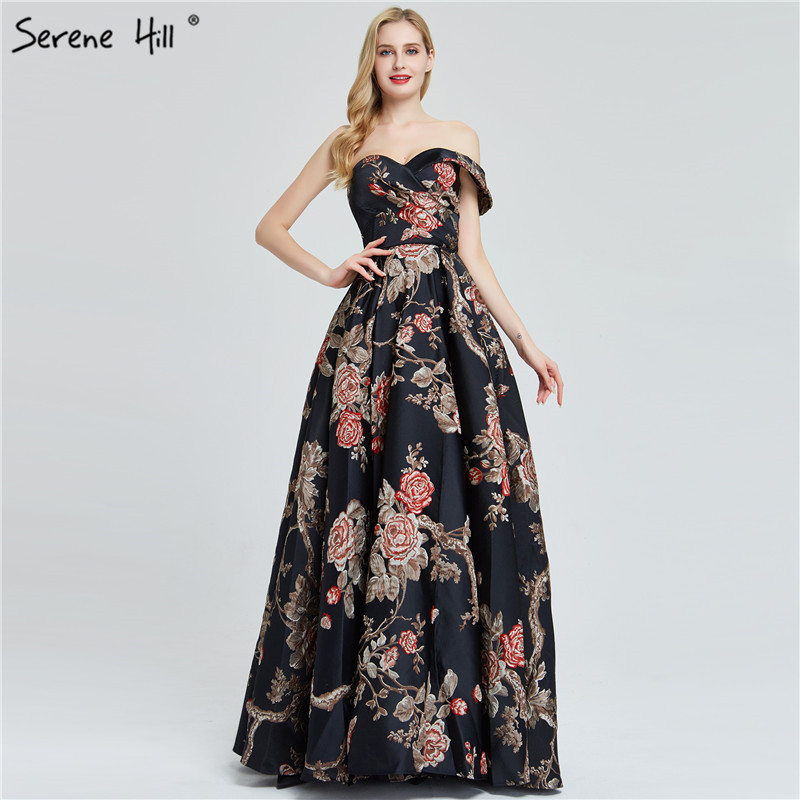 Image 2 - Navy Blue Embroidery Flowers Sexy Evening Dresses 2020 One Shoulder Sleeveless Evening Gowns Serene Hill LA60904Evening Dresses   -