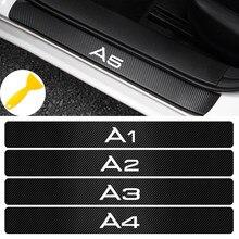 Estilo de coche 4 Uds coche fibra de carbono resistente al agua etiqueta de protección para Audi A1 A2 A3 A4 A5 A6 A7 A8 Q2 Q3 Q5 Q7 Q8 Auto Accesorios