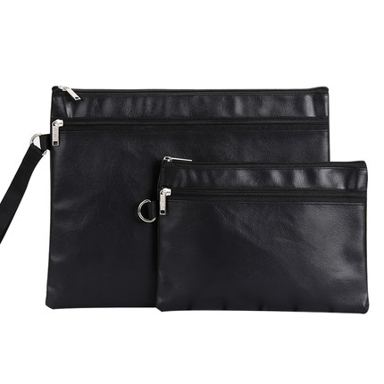 Waterproof PU Leather Zipper Bag Portable Mens Document Bag A4 File Bag A5 Document Pouch