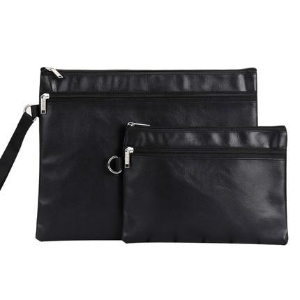 Waterproof PU Leather Zipper Bag Portable Mens Document Bag A4 File Bag A5 Document Pouch