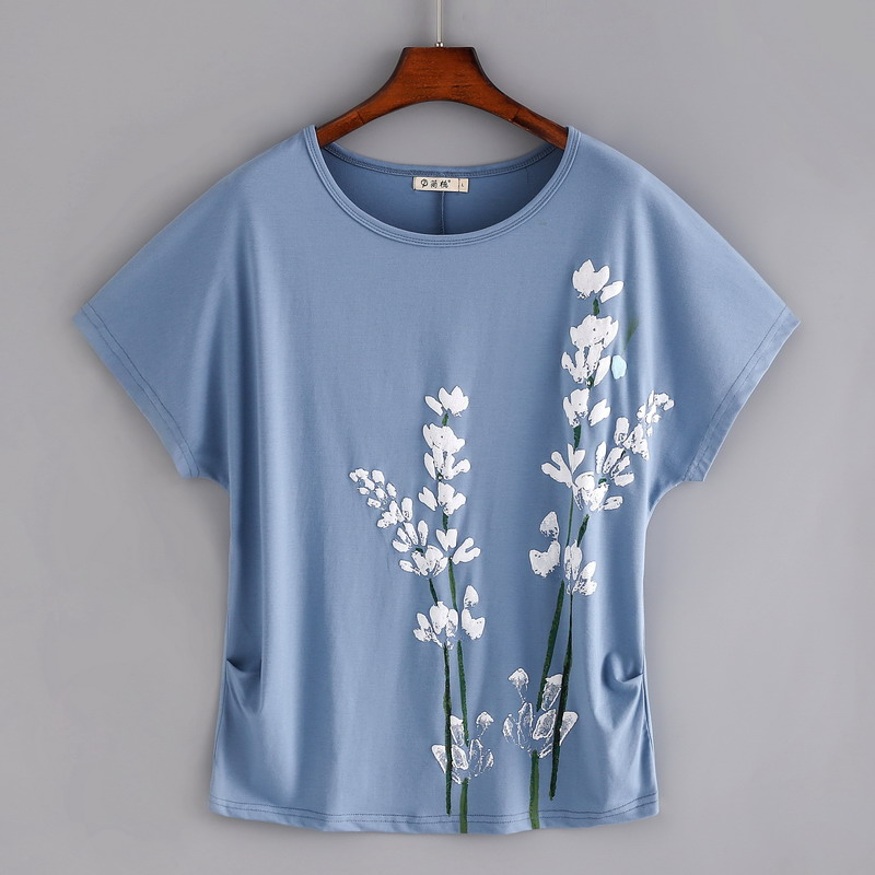 <font><b>2019</b></font> cotton floral print t shirt <font><b>women</b></font> Plus size 4XL summer top Batwing sleeve <font><b>graphic</b></font> <font><b>tees</b></font> o-neck tshirt loose <font><b>tee</b></font> shirt femme image