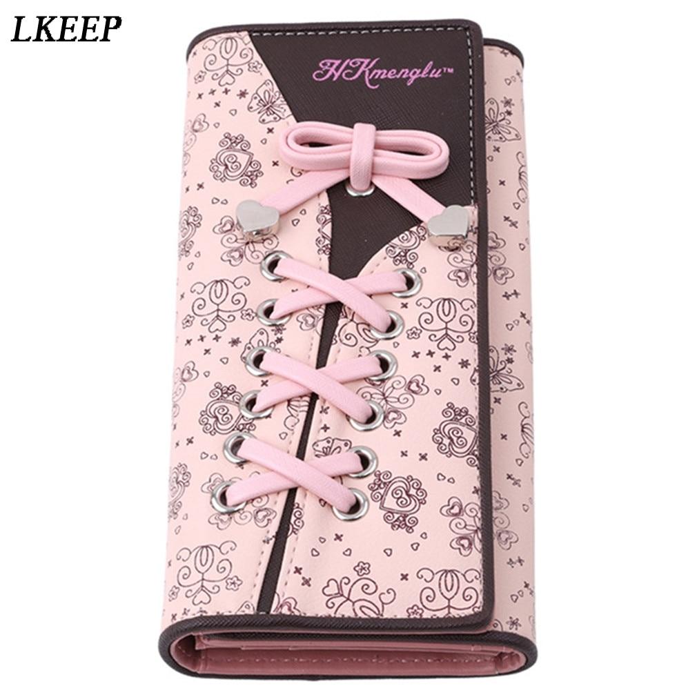 Shoelace Style Pocket Long Wallet PU Leather Multi-functional Wallet Women Coin Purse Card Holders Clutch Female Wallets Purse