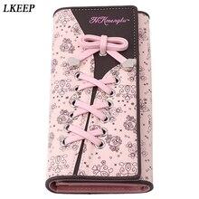 Shoelace Style Pocket Long Wallet PU Leather Multi-functional Wallet Women Coin Purse