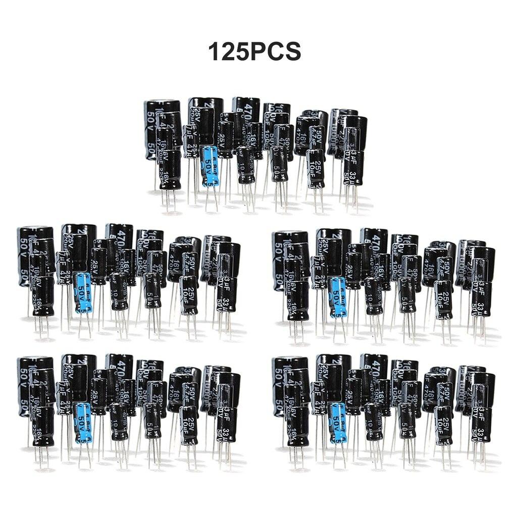 1uF-2200uF 25V/50V 25 Values X 5Pcs Total 125 Pcs Electrolytic Capacitors Assortment Kit Assorted Set